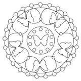 Mandala simple de coloration de papillon Images libres de droits