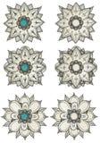 Mandala sketch selection Royalty Free Stock Photos