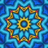 Mandala soufflé de fleur d'étoile bleue Photo libre de droits