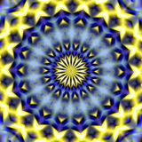 Mandala sparkling yellow lights, abstract background. Mandala sparkling yellow lights and geometric shapes on blurred abstract background. Abstract design Stock Photo