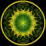 Mandala in spring nature colors for vitality obtaining. Filigree embroidery patterns in yellow, orange and green. Vector EPS 10 Stock Photo