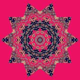 Mandala on square crimson background. Vector illustration Stock Photo