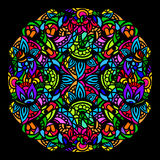 Mandala stained glass. Ornament color card with mandala in the style of stained glass on a black background. Indian, Arab, African, Mexican decorative vector Royalty Free Stock Photos