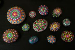 Mandala Stones. With powerful colors Royalty Free Stock Photos