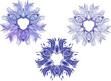 Mandala-style blue flames. Of fire with flowers Royalty Free Stock Photography