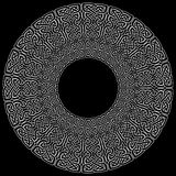 Mandala style Celtic style endless knot symbols in white on black background in a circle shape inspired by Irish St Patrick`s Day Royalty Free Stock Photo