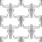 Mandala style dead cow heads seamless pattern. Decorative ornament buffalo skull. Native indian art. Ethnic sketch Royalty Free Stock Photography