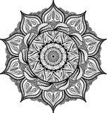 Mandala symétrique circulaire sur le fond blanc Illustration de livre de coloriage de modèle Page de peinture pour des adultes illustration stock
