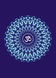 White mandala with the symbol aum on a blue background. Artistic background. Fractal. Vector graphics. Mandala with the symbol aum ohm on a blue background Stock Photos