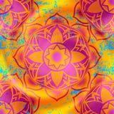 Mandala symbols pattern on orange blur background Royalty Free Stock Photo
