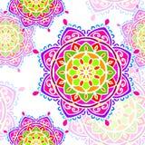 Mandala tęczy biały bezszwowy Fotografia Stock
