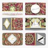 mandala Tarjeta de visita con el ornamento hecho a mano en colores retros Fotos de archivo