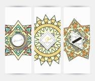 mandala Tarjeta de visita con el ornamento hecho a mano en colores retros Fotos de archivo libres de regalías