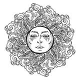 Mandala tattoo. Fairytale style sun with a human face surrounded by curly ornate clouds. Decorative element for coloring Royalty Free Stock Photo