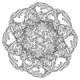 Mandala tatuaż Retro stylowa kędzierzawa dekoracyjna chmura z podeszczowymi kroplami Dekoracyjny element dla tatuaż tkaniny drukó Obraz Royalty Free