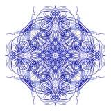 mandala Teste padrão azul redondo decorativo do laço Imagens de Stock Royalty Free