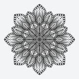 mandala teste padrão monocromático circular floral estilizado Foto de Stock Royalty Free