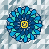 Mandala with text on blue background. Vector Royalty Free Stock Photography