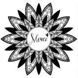 Mandala with text Merci - Thank You in english, black and white illustration Royalty Free Stock Images