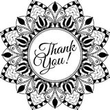 Mandala with text Thank You, black and white illustration Royalty Free Stock Photos