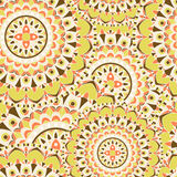 Mandala texture in bright colors. Seamless pattern on indian style. Abstract vector background Stock Image