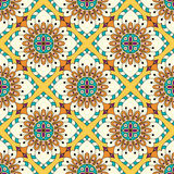 Mandala texture in bright colors. Seamless pattern on indian style. Abstract vector background Stock Photo