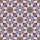 Mandala texture in bright colors. Seamless pattern on indian style. Abstract vector background Stock Images