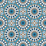 Mandala texture in bright colors. Seamless pattern on indian style. Abstract vector background.  Royalty Free Stock Image