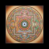 Mandala tibetana antiga do ohm do tangka Fotografia de Stock Royalty Free