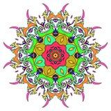 Mandala tiré par la main coloré, élément décoratif oriental, style de vintage Approprié au textile, au tissu, à l'emballage et au Image libre de droits
