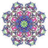 Mandala tiré par la main coloré, élément décoratif oriental, style de vintage Approprié au textile, tissu, empaquetant Photos libres de droits