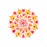 Mandala tiré par la main d'amour de coeur Images stock