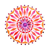 Mandala tiré par la main dans la technique d'aquarelles Photo stock