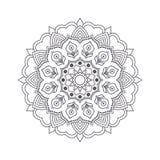Mandala tiré par la main de fleur pour livre de coloriage Eth noir et blanc Images stock