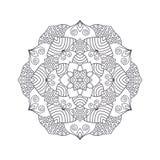 Mandala tiré par la main de fleur pour livre de coloriage Eth noir et blanc Image stock