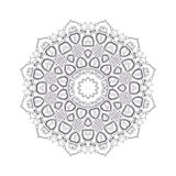 Mandala tiré par la main de fleur pour livre de coloriage Eth noir et blanc Image libre de droits
