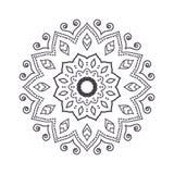Mandala tiré par la main de fleur pour livre de coloriage Eth noir et blanc Photo libre de droits