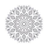 Mandala tiré par la main de fleur pour livre de coloriage Eth noir et blanc Photos stock