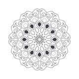 Mandala tiré par la main de fleur pour livre de coloriage Eth noir et blanc Photo stock