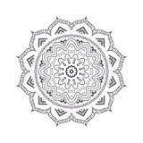 Mandala tiré par la main de fleur pour livre de coloriage Eth noir et blanc Images libres de droits
