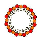 Mandala tiré par la main de guirlande de champignons colorés rouge et orange illustration libre de droits