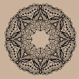 Mandala tiré par la main de zentangle de vecteur - peut être employé comme page de livre de coloriage pour des adultes, carte, in Image stock