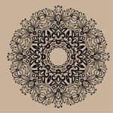 Mandala tiré par la main de zentangle de vecteur - peut être employé comme page de livre de coloriage pour des adultes, carte, in Photos libres de droits