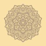Mandala tirada do boho da mão redonda Ilustração do vetor Imagens de Stock