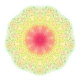 Mandala tirada mão do lápis Laço redondo vermelho do verde amarelo Mola p Foto de Stock