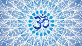Mandala tournant dans des tons bleus Au milieu du mandala est l'aum de signe/OM/ohm vidéo illustration stock