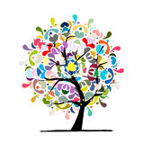 Mandala tree, floral sketch for your design Royalty Free Stock Photos