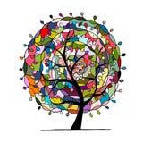 Mandala tree, floral sketch for your design Stock Image