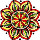 Mandala van de de bloemvorm van de gelpen hand getrokken royalty-vrije illustratie