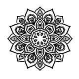 Mandala van de contourlijn - schets van tatoegering Stock Foto